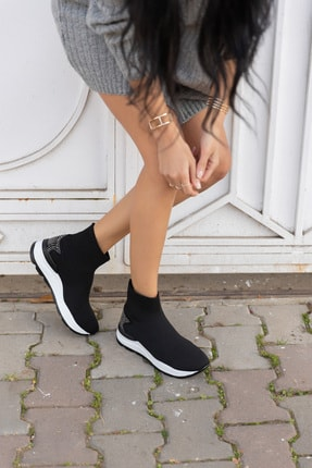ANGELİNA JONES Damlalla Siyah Trıko Sneakers Bot 0