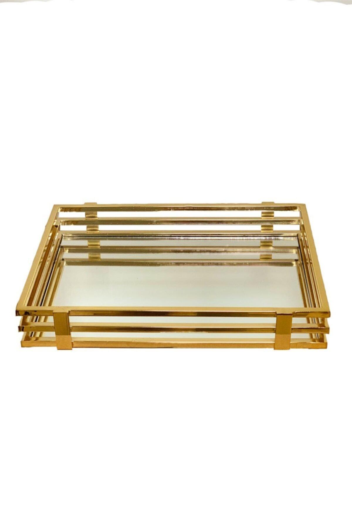 ARTER Home Gold Aynalı Dikdörtgen Tepsi