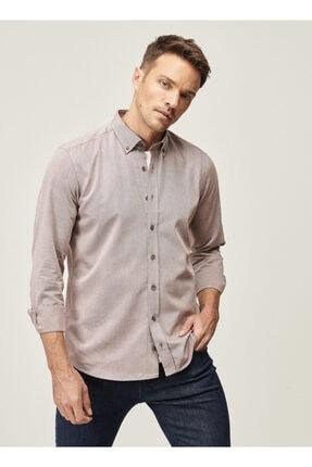 Altınyıldız Classics Erkek Bordo Tailored Slim Fit Dar Kesim Düğmeli Yaka Twill Gömlek 1