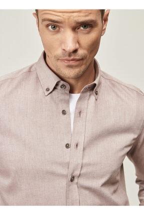 Altınyıldız Classics Erkek Bordo Tailored Slim Fit Dar Kesim Düğmeli Yaka Twill Gömlek 2