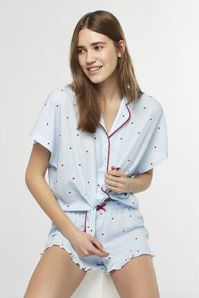 Penti Mavi Love Stripe Pijama Takımı 0
