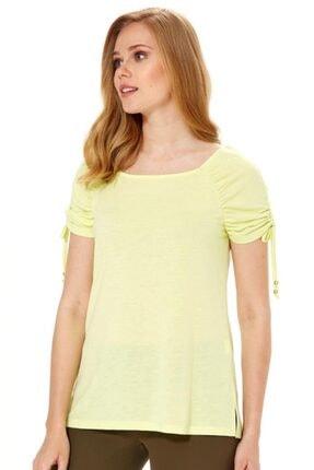 İkiler Kadın Açık Fıstık Yeşil Kolu Büzgülü Bağcıklı Bluz 018-1204 2