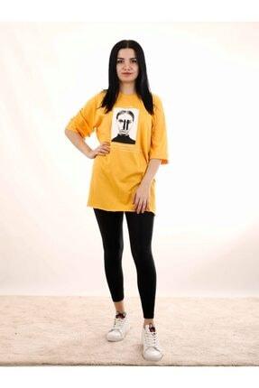 Kadın Sarı Baskılı Tshirt PMBCKT44444990291