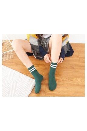 çorapmanya Kadın 6' Lı Karışık Renkli Çizgili Tenis Çorabı 4