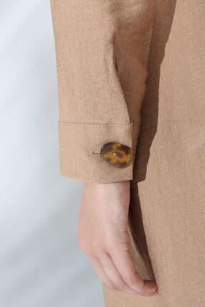 ALLDAY Koyu Bej Düğme Detaylı Viskon Patlı Tunik 2
