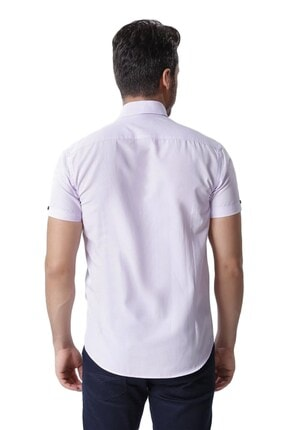 Otto Moda Kısa Kollu Erkek Gömlek Lilac 3