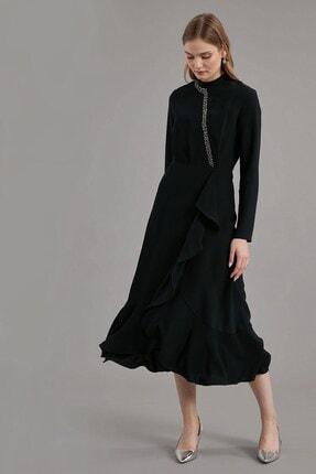 Journey Elbise- Yarım Balıkçı Ön Bant Boncuk Işleme, Volan Detaylı 2
