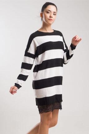 caddecity Çizgili Triko Etek Dantel Detaylı Elbise 0