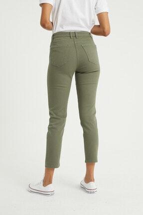 BOSHETTI Haki Yüksek Bel Mom Comfort Slim Fit Jeans 4