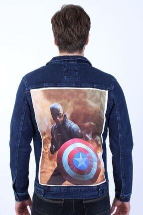 تصویر از Captain America Baskılı Erkek Lacivert Yıkamalı Kot Ceket