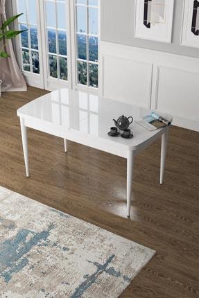 Canisa Concept Zen Serisi Beyaz Mdf Açılabilir Mutfak Masası, Yemek Masası Beyaz 0