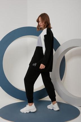 oia W-0924 Siyah Gri Ekru Geometrik Tunik Pantolon Takım Eşofman Takım 2