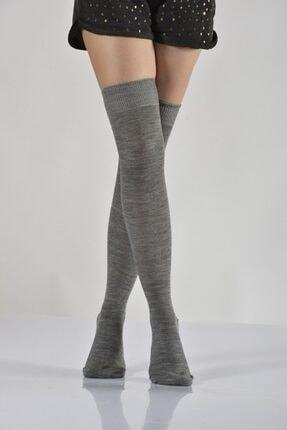 4'lü Paket - Bayan Dizüstü Çorabı - Açık Gri B-art005 B-KAD005-41