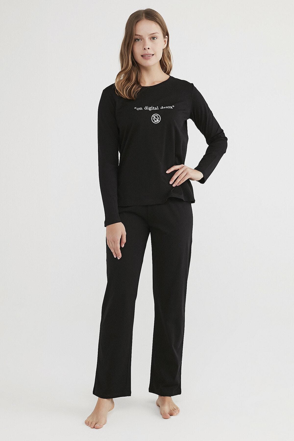 Penti Kadın Siyah Base Detox Pijama Takımı 1
