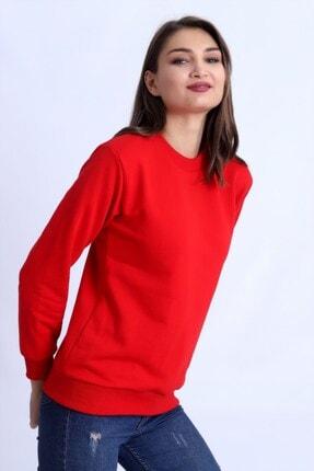 Deafox Canlı Kırmızı Basic Kadın Sweatshirt 1