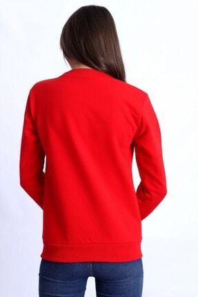 Deafox Canlı Kırmızı Basic Kadın Sweatshirt 3
