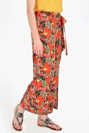 İkiler Kadın Turuncu Beli Lastikli Desenli Pantolon 019-03-3526 1