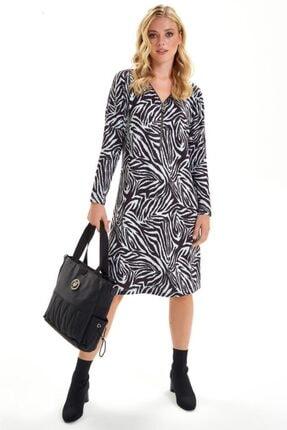 İkiler Yakası Metal Fermuarlı Zebra Desen Elbise 201-2511 1