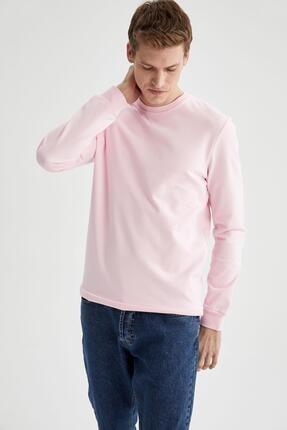 Defacto Erkek Pembe Regular Fit Bisiklet Yaka Basic Sweatshirt 4