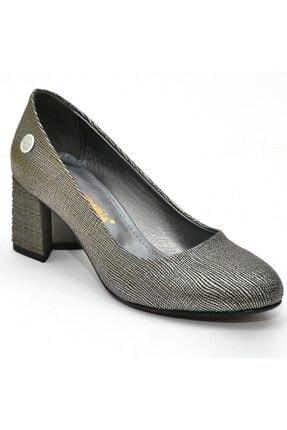 Mammamia Kadın   Platin Kare Topuk  Ayakkabı 1