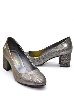 Mammamia Kadın   Platin Kare Topuk  Ayakkabı 2