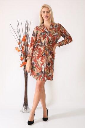 ASSO Kadın Kahverengi Çiçek Desenli Tünelli Elbise 1