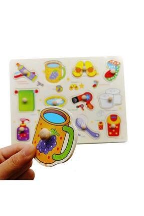 TOYS&TOYS Ahşap Tutmalı Eğitici Banyom Seti Puzzle Okul Öncesi Eğitici Bultak Puzzle 1