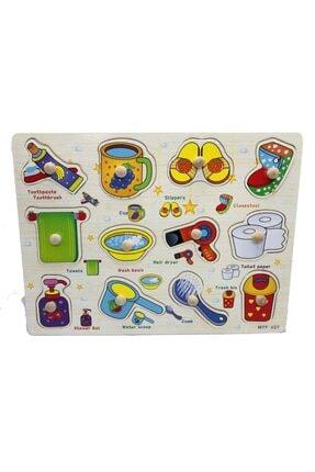 TOYS&TOYS Ahşap Tutmalı Eğitici Banyom Seti Puzzle Okul Öncesi Eğitici Bultak Puzzle 2