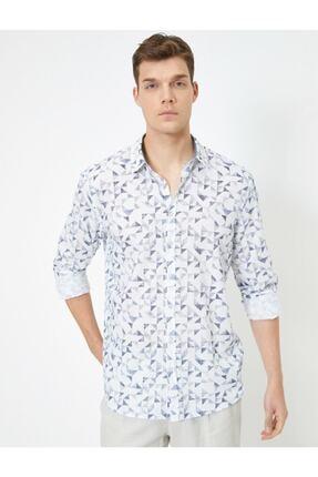 Koton %100 Pamuklu Desenli Klasik Yaka Dar Kesim Uzun Kollu Gömlek 0