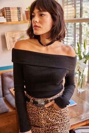 Lena Butik Madonna Yaka Şardonlu Kaşkorse Bluz-siyah 1