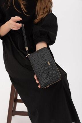 Shule Bags Kadın Cüzdan 1018 Siyah Croc 0