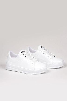 Weynes Kadın Beyaz Bağcıklı Deri Spor Ayakkabı Ba18018 0