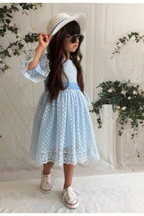 Mixie Şapkalı, Güpürlü, Prenses Model Kız Çoçuk Elbisesi 1
