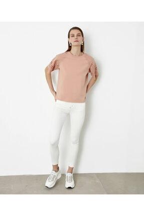 İpekyol Beyaz Iş Kol Detaylı Tshirt 0