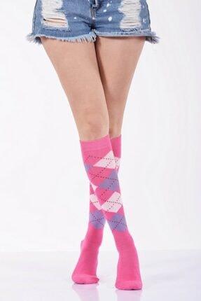 Idilfashion Ekoseli Dizaltı Kadın Çorabı - Fuşya B-art013 LTB013042111