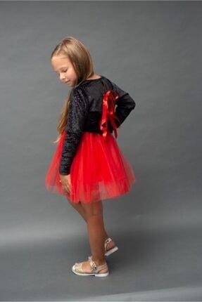 RG KİDSTORE Kız Çocuk Özel Gün Kırmızı Tütü Elbise Parlak Siyah Kadife Ve Kırmızı Tül 1