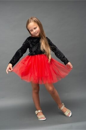 RG KİDSTORE Kız Çocuk Özel Gün Kırmızı Tütü Elbise Parlak Siyah Kadife Ve Kırmızı Tül 2