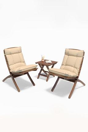 Meya Dekor Minderli Bahçe Balkon 2+1 Katlanabilir Masa Sandalye Seti 2