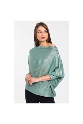 Garaj Butik Düşük Omuz Triko Kazak Mint Yeşili Su Moda 3261 Mint Yeşili