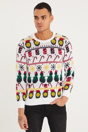 Tarz Cool Erkek Beyaz Christmas Yılbaşı Kazağı-noelkzkr01s 0