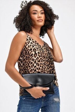 Jument Kadın Kahverengi Leopar Queen Empirme İp Askılı Bluz 20083 1