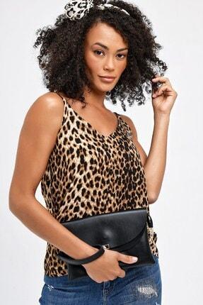 Jument Kadın Kahverengi Leopar Queen Empirme İp Askılı Bluz 20083 4