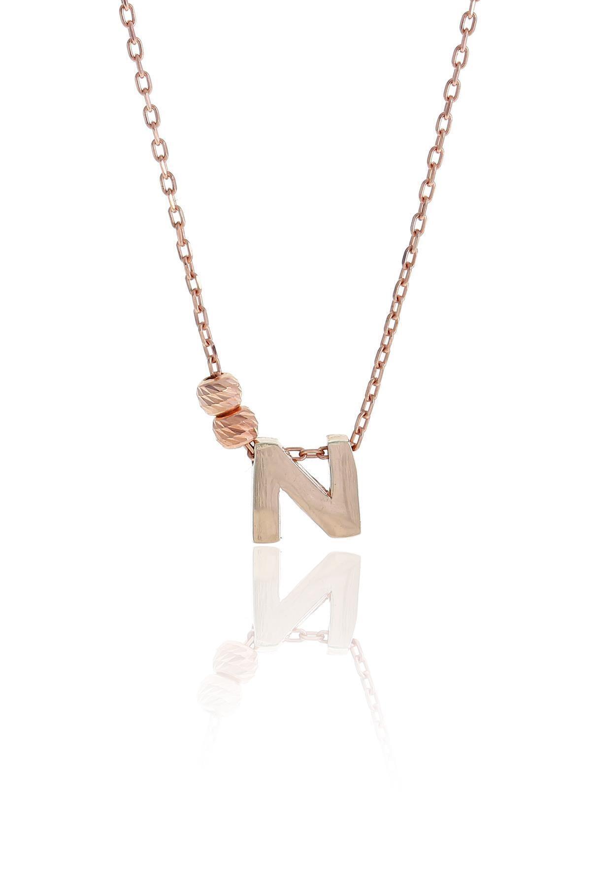 N Harfli Tasarım Rose Gümüş Kolye 3824
