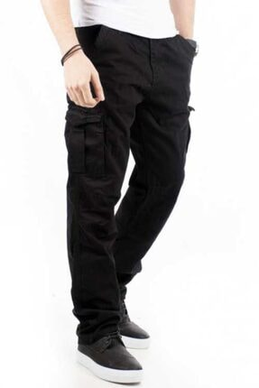 Bilgiçler Erkek Siyah Geniş-bol Kesim Kargo Pantolon 2