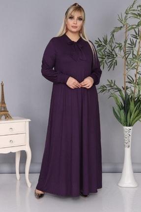 Şirin Butik Kadın Büyük Beden Mürdüm Renk Kravat Yaka Detaylı Viskon Elbise 0