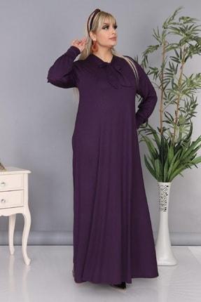 Şirin Butik Kadın Büyük Beden Mürdüm Renk Kravat Yaka Detaylı Viskon Elbise 3