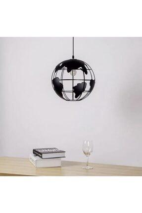 ışıksan aydınlatma Modern Retro Concept Tekli Sarkıt Dünya Harita Avize Siyah 1