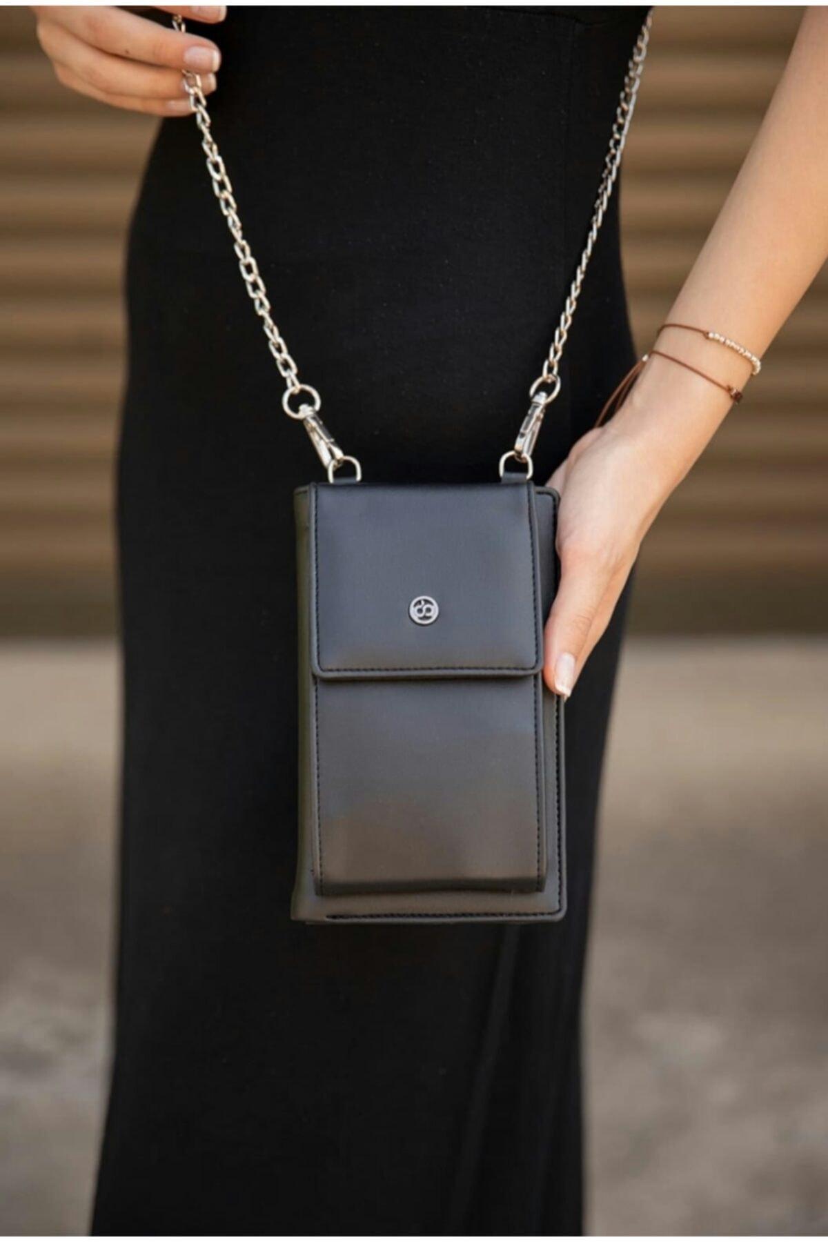 Kadın Telefon Bölmeli Şık Siyah Omuz Çantası