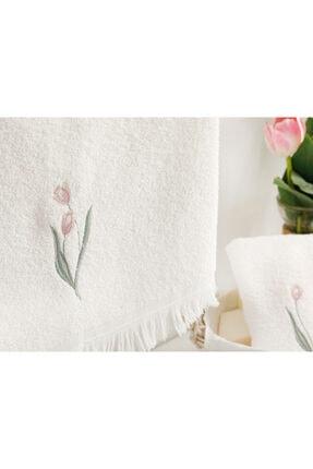 English Home Tulip Garden Nakışlı Yüz Havlusu 50X76 Cm Ekru 1