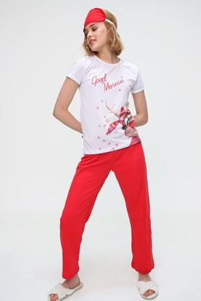Trend Alaçatı Stili Kadın Beyaz Uyku Bantlı Bisiklet Yaka Geyik Baskılı Kısa Kol Pijama Takım ALC-X5585 2